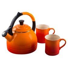 Enamel On Steel 3 Piece 1.7 Qt. Peruh Tea Kettle & Mug Set