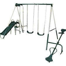 5 Piece Outdoor Garden Slide Seesaw Swing Set