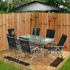 6 Seater Dining Set with Parasol