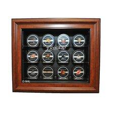 NHL Twelve Puck Cabinet Style Display Case in Brown