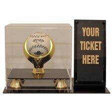 Single Baseball and Ticket Holder Display Case