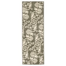 Floral Scroll Green & Ivory Area Rug