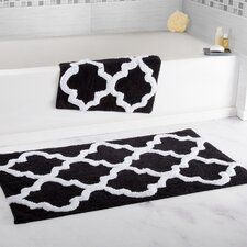 2 Piece Trellis Cotton Bath Mat Set