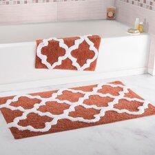 2 Piece Trellis Cotton Bath Mat Set