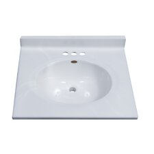 "25"" Classic Center Oval Bowl Vanity Top in White on White"
