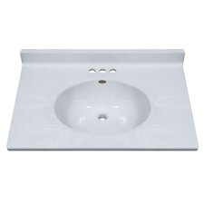 "31"" Classic Center Oval Bowl Vanity Top in White on White"