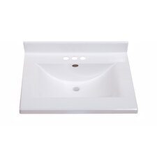 "25"" Center Wave Bowl Vanity Top in Solid White"