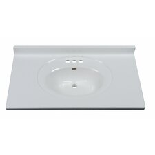 """37"""" Vanity Top with Recessed Center Oval Bowl in Solid White"""