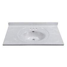 "37"" Vanity Top with Recessed Center Oval Bowl in White on White"