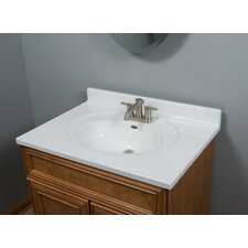 "31"" Vanity Top with Recessed Center Oval Bowl in Solid White"