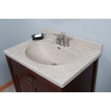 "31"" Olympic Oval Bowl in Cappuccino Vanity Top"