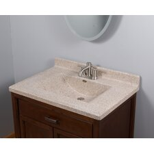 "31"" Center Wave Bowl in Cappuccino Vanity Top"