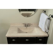 "37"" Center Wave Bowl in Cappuccino Vanity Top"