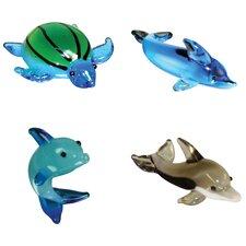 4 Piece Miniature Myrtle SeaTurtle, TailWalk Dophin, Dexter Dolphin, Twister SpinnerDolphin Figurine Set