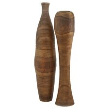 2 Piece Tree Bark Vase Set