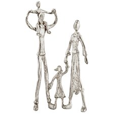 Familia Jugando Silver Playing Family Sculpture