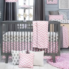 Swizzle Pink 3 Piece Crib Bedding Set
