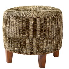 Round Seagrass End Table