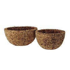 Knotted Round Water Hyacinth Decorative Bowl (Set of 2)