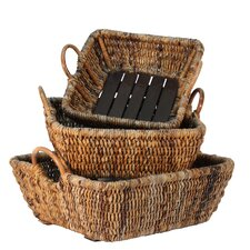 Astor Square Basket with Wooden Bottom (Set of 3)