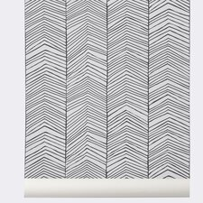 "Ferm Living WallSmart Hand Printed Chevron 32.97' x 20.87"" Geometric Wallpaper"