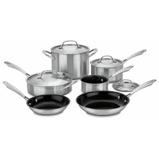 GreenGourmet 10 Piece Non-Stick Stainless Steel Cookware Set