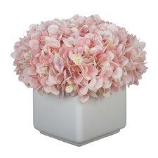 Hydrangea Arrangement in Large White Cube Ceramic