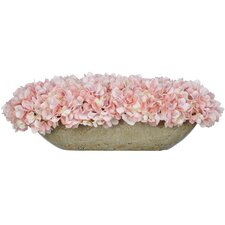 Artificial Hydrangea in Oval Ceramic Pot