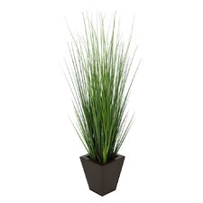 Artificial Grass in Square Tempered Decorative Vase