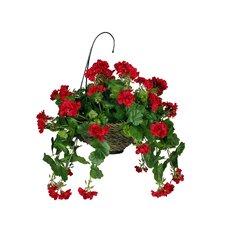 Artificial Geranium Hanging Plant in Basket