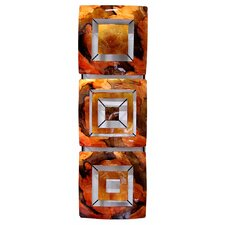 3 Geometric Square Panel Foiled Glazed Wall Décor
