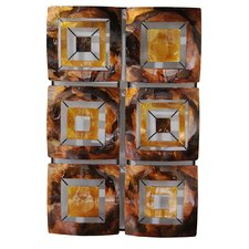 6 Geometric Square Panel Foiled Glazed Wall Décor