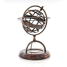 Decorative Brass Armillery Globe with Compass on Wood Base