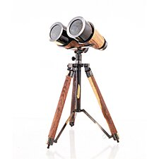 Decorative Wood / Brass Binocular on Stand