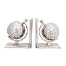 Aluminum Globe Bookend (Set of 2)