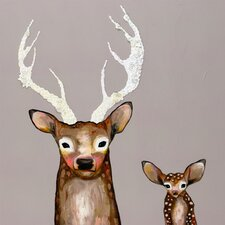 Frosted Buck and Baby by Eli Halpin Painting Print on Wrapped Canvas