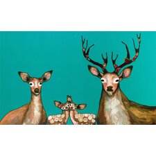 """Flower Deer Family"" by Eli Halpin Painting Print on Wrapped Canvas"
