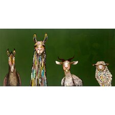 """Donkey, Llama, Goat, Sheep"" by Eli Halpin Painting Print on Canvas"