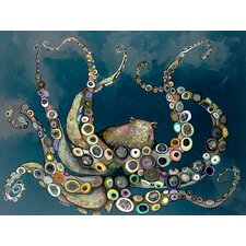 "'Octopus in the Deep Blue Sea"" by Eli Halpin Painting Print on Wrapped Canvas"