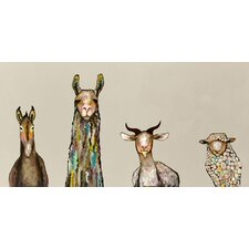 "''Donkey, Llama, Goat, Sheep on Cream"" by Eli Halpin Painting Print on Canvas"