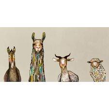 'Donkey, Llama, Goat, Sheep on Cream' by Eli Halpin Painting Print on Canvas