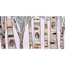 'Light Pink Birch Trees' by Eli Halpin Painting Print on Canvas