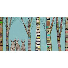 'Bunnies in The Woods' by Eli Halpin Painting Print on Canvas