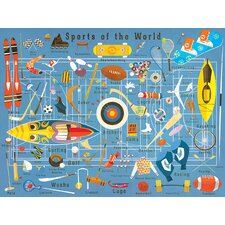 'Sports Of The World' by Daviz Wall Mural Graphic Art on Canvas in Blue