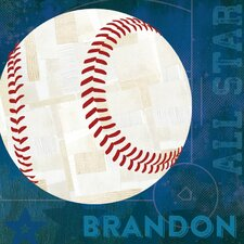 'Baseball All Star Personalized' by Vicky Barone Graphic Art on Canvas in Blue