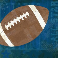 'Football All Star' by Vicky Barone Graphic Art on Canvas in Blue
