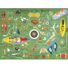 'Sports Of The World' by Daviz Graphic Art on Canvas in Green