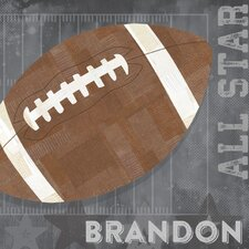 'Football All Star' by Vicky Barone Personalized Graphic Art on Canvas in Gray
