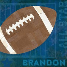'Football All Star' by Vicky Barone Personalized Graphic Art on Canvas in Blue