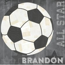 'Soccer All Star' by Vicky Barone Personalized Graphic Art on Canvas in Gray